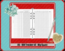 A5 - undated bill tracker v1 // 1print-1fold-Done // Duplex // double sided