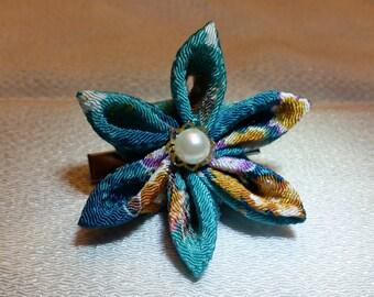 Aqua teal hair flower, kanzashi gem hair clip, handmade chirimen