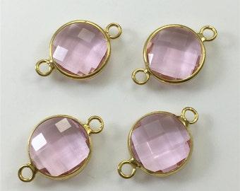 10mm 3pcs Pink Glass Bezel Connector,Gold Plated Bezel,Bezel Jewelry Making