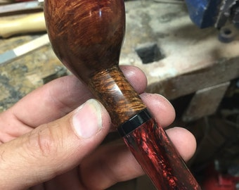 Black to Red Hatfield Pipe, Hatfield Pipe, tobacco pipe, briar pipe, smoking pipe, wooden smoking pipe