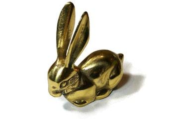 Vintage Brass Bunny Figurine Mid Century Brass Rabbit Paperweight Cute Bunny Rabbit Figurine Gift