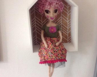 One of a kind needlefelted doll with pink hair.