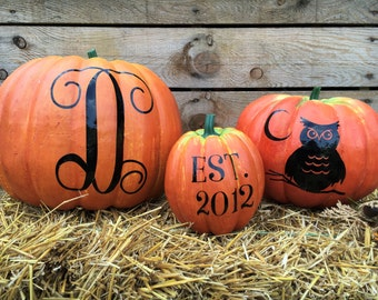 Monogram Pumpkin Set - Custom Pumpkin Decal - Halloween Decor - Jack o lantern  - Custom pumpkin décor - No carve pumpkin