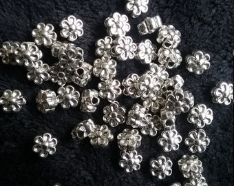 50 x Antique Silver 6.5mm 3D Flower Tibetan Style Spacer Beads