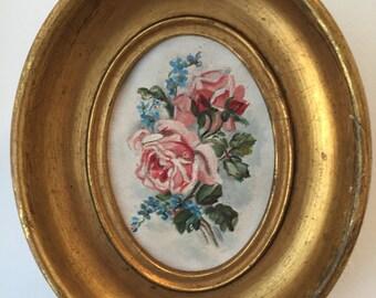 Set of Antique Watercolor Flower Paintings