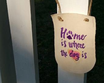 Embroidered dog banner