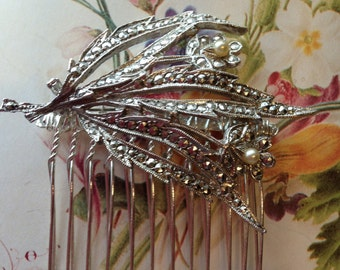 Hair Combs- Marcasite Hair Comb- Vintage Wedding, Bridal, Bridesmaid, Prom Hair Accessories
