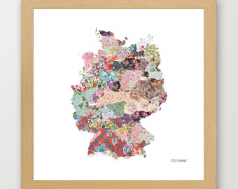 GERMANY MAP print, Germany painting, map of Germany, Painting of Germany, Germany poster, Giclee Fine Art, Flowers composition