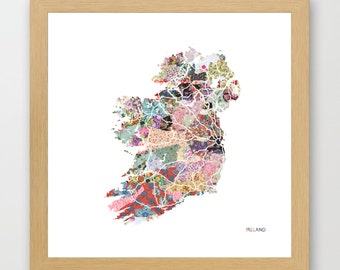 IRELAND MAP print, Ireland painting, map of Ireland, Painting of Ireland, Ireland poster, Giclee Fine Art, Flowers composition