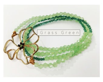 Beaded Wrap Bracelet/Necklace - Flower Grass Green