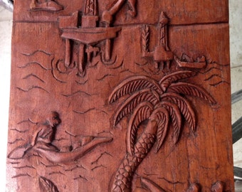 "Cameroon ""Cameroun"" Africa Hand-Carved Wall Hanging"