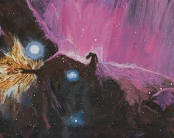 "Horsehead & Flame Nebulae 24"" x 12"" - Acrylic Painting on Canvas"