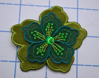 Green Two-toned Embroidery & Beaded Flower Applique Patch