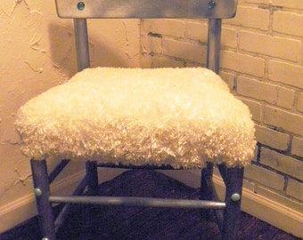 Chair wooden with soft curly fur
