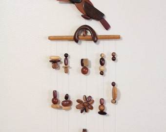 Wood bird mobile wall art