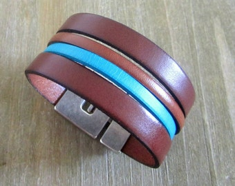 Man Leather Brown/Turquoise, magnetic clasp bracelet.