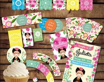 Frida Kahlo Party Printables. Frida Birthday Decoration. Frida invitation. Printable Kit Frida. Invitation, Mexican party decoration