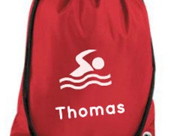 Personalised Swimming Bag, Drawstring Backpack,Gymsac,PE Kit Bag,Sports Bag, School Bag, Children's Bag, Named Bag, Back to School,Nylon Bag