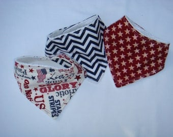 Bandana Bib Set~ Patriotic Red White and Blue  ~  Adjustable for Ages 0 to 12 months