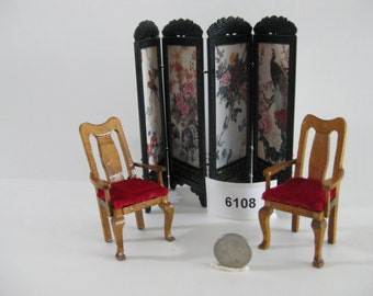 Red Upholstered Chairs and Chinese Screen 6108