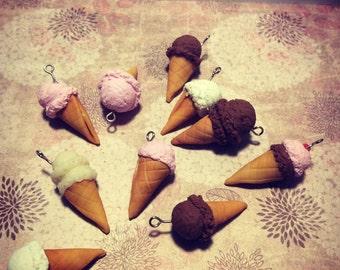 Ice cream waffle cones strawberry, chocolate or vanilla