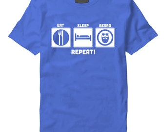 Eat Sleep Beard Repeat White On blue T-Shirt - Eat,Sleep,Beard Repeat