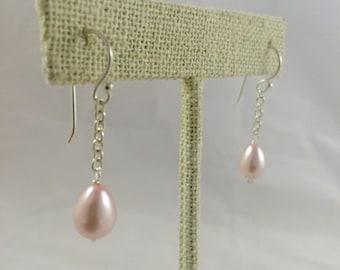 Pink Teardrop Pearl Sterling Silver Chain Drop Earring