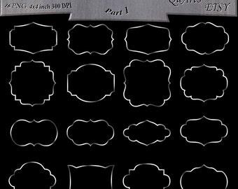 Silver Foil Frame Clipart - Shiny Digital Frames - Silver Metallic Borders - Fancy Shape Outlines - Silver Clip Art Frames - Design Elements