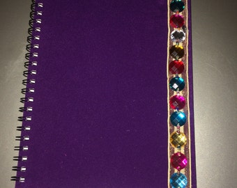 Suede effect purple notebook A5
