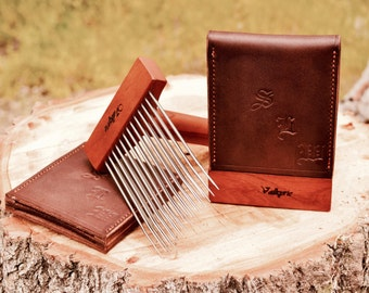 Valkyrie, mini double row leather comb cover set