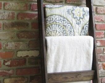 Throw Blanket Ladder, Throw Blanket Storage, Throw Blanket Rack, Blanket Ladder with 4 rungs, Easy Storage for blankets