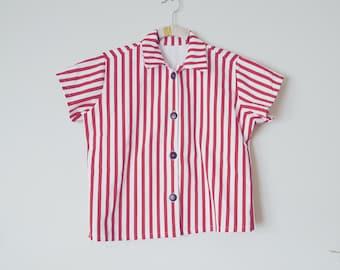 Vintage Nautical Striped Button Up Shirt