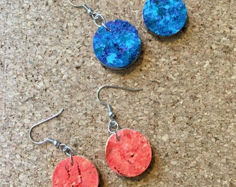 Upcycled Speckled Wine Cork Earrings