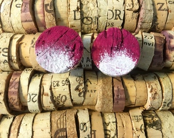 Pink and White Upcycled Wine Cork Stud Earrings