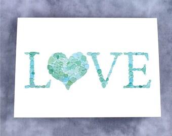 Sea Glass LOVE Heart Note Card - Blank
