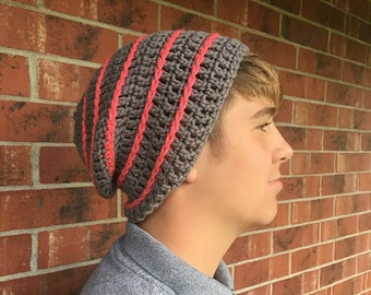 Gray and Papaya Striped Slouchy Beanie/Slouchy Beanie/Gray Slouchy Beanie/Striped Beanie/Striped Slouchy Beanie/Hipster Beanie/