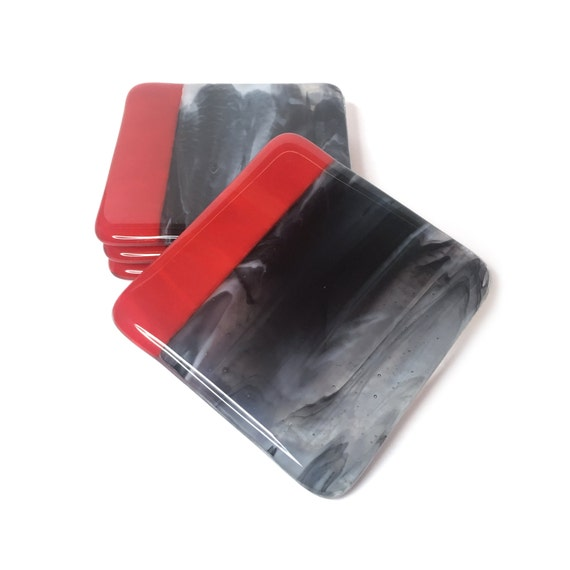 Coaster Cermak Contemporary Square Black Metal Base Glass: Fused Glass Drink Coasters In Red And Black Glass Set Of