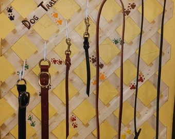 Amish hand crafted 6 foot leather leashes, collars and tabs.