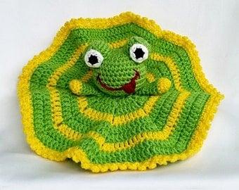 "PDF: Lovey ""Frog"" - Mini Cuddly Blanket Crochet Pattern"
