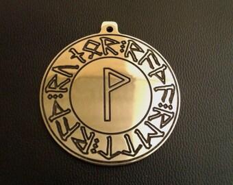Wunjo, rune circle Futhark, Viking's pendants Amulet, nordic necklace