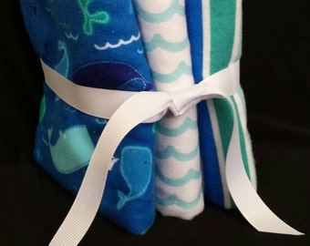 Baby Boy Burp Cloth - Blue Whales