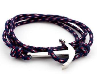 Bracelet HANCLAR blue anchor silver