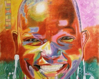 Africa portrait. Oil Painting on Canvas, big size.