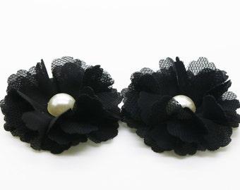 "2"" Black Chiffon Flower with Pearl, Headband Flower, Fabric Flower 2pcs"
