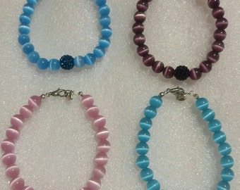 Cats-eye and Pave Disco Ball Beaded Bracelet in your choice of 4 colors