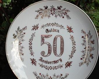 Vintage Golden 50th Anniversary Wedding Plate