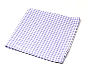 Purple Gingham Pocket Square