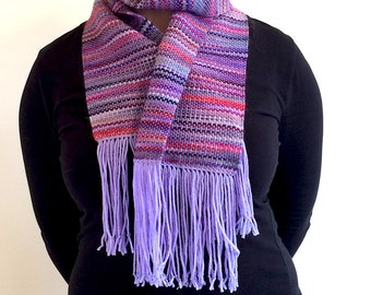 Silky soft handwoven alpaca wool scarf in purples pinks and reds
