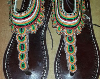 kibichi gladiator sandals /tribal sandals / beaded sandals / leather sandals