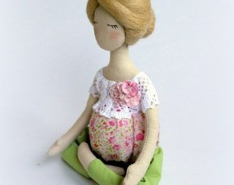 Pregnant Yoga doll Soft sculpture Pregnant rag doll Fabric collectible doll Textile doll Abigail